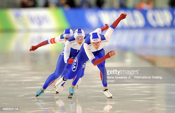 Yekaterina Shikhova Nadezhda Aseyeva and Olga Fatkulina of Russia compete in the Ladies Team Sprint event on day three of the ISU World Cup Speed...