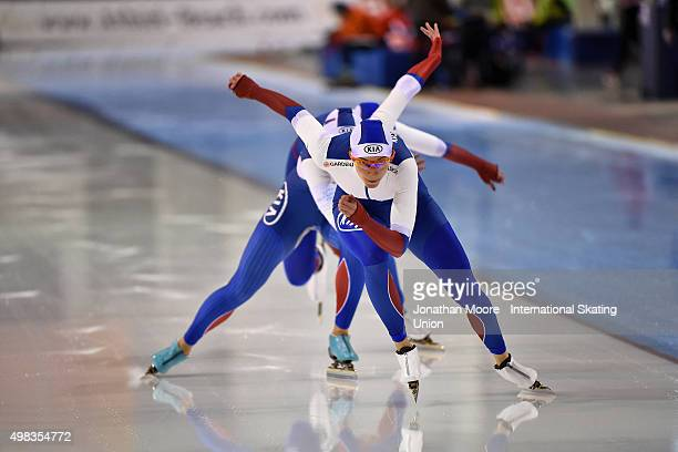 Yekaterina Shikhova Nadezhda Aseyeva and Olga Fatkulina of Russia compete in the Women's Team Sprint during the race on day three of the ISU World...