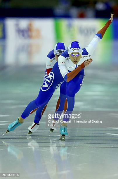 Yekaterina Shikova Nadezhda Aseyeva and Olga Fatkulina of Russia skate during the ladies team sprint during day 1 of ISU Speed Skating World cup at...