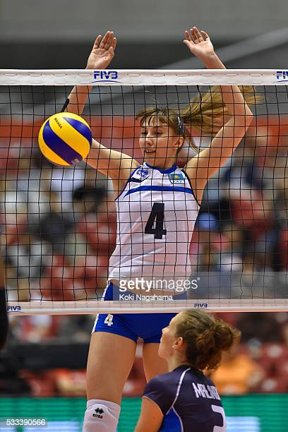 Yekaterina Zhdanova of Kazakhstan blocks the ball during the Women's World Olympic Qualification game between Italy and Kazakhstan at Tokyo...