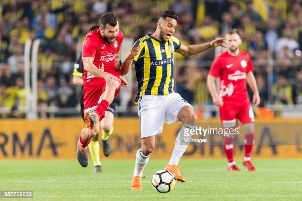 Yekta Kurtulus of Antalyaspor AS Josef de Souza Dias of Fenerbahce during the Turkish Spor Toto Super Lig match Fenerbahce AS and Antalyaspor AS at...