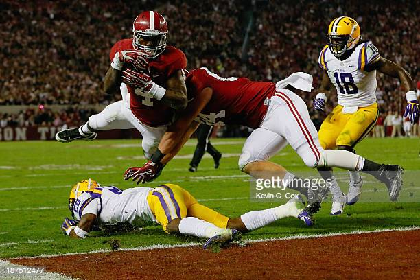 Yeldon of the Alabama Crimson Tide scores a touchdown in the third quarter against the LSU Tigers at Bryant-Denny Stadium on November 9, 2013 in...