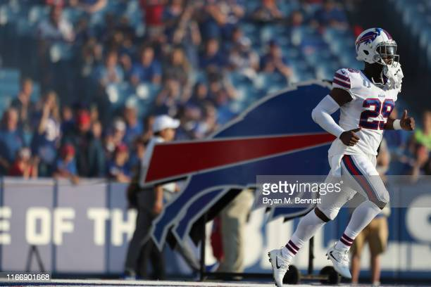 Yeldon of the Buffalo Bills runs on the field before a preseason game against Indianapolis Colts at New Era Field on August 08, 2019 in Orchard Park,...