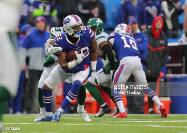 Yeldon of the Buffalo Bills runs the ball during the second half against the New York Jets at New Era Field on December 29, 2019 in Orchard Park, New...