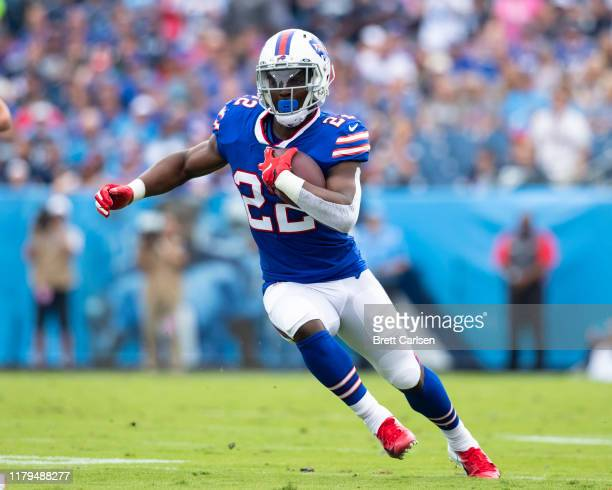 Yeldon of the Buffalo Bills runs with the ball during the first quarter against the Tennessee Titans at Nissan Stadium on October 6, 2019 in...