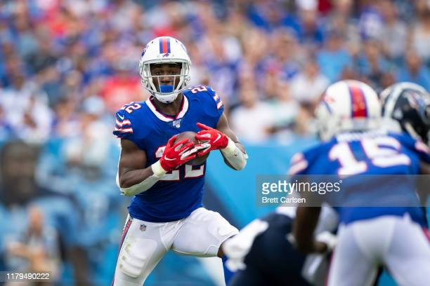 Yeldon of the Buffalo Bills runs with the ball during the fourth quarter against the Tennessee Titans at Nissan Stadium on October 6, 2019 in...