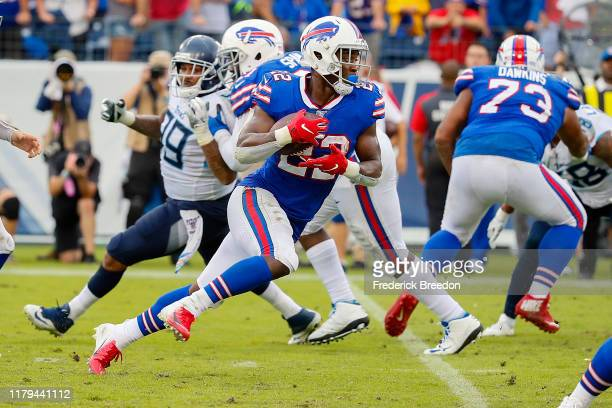 Yeldon of the Buffalo Bills rushes against the Tennessee Titans during the second half at Nissan Stadium on October 06, 2019 in Nashville, Tennessee.