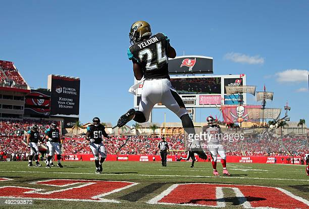 Yeldon of the Jacksonville Jaguars catches a touchdown during a game against the Tampa Bay Buccaneers at Raymond James Stadium on October 11, 2015 in...
