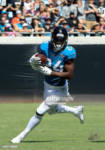 J Yeldon of the Jacksonville Jaguars runs for yardage during the game against the Houston Texans at TIAA Bank Field on October 21 2018 in...