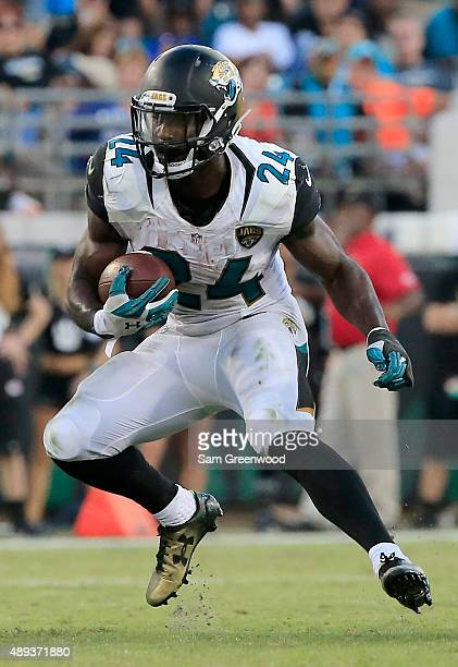 Yeldon of the Jacksonville Jaguars runs for yardage during the game against the Miami Dolphins at EverBank Field on September 20, 2015 in...