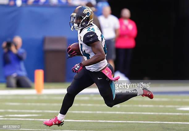Yeldon of the Jacksonville Jaguars runs the ball against the Indianapolis Colts at Lucas Oil Stadium on October 4, 2015 in Indianapolis, Indiana....