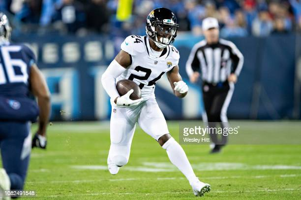 Yeldon of the Jacksonville Jaguars runs the ball during a game against the Tennessee Titans at Nissan Stadium on December 6, 2018 in...
