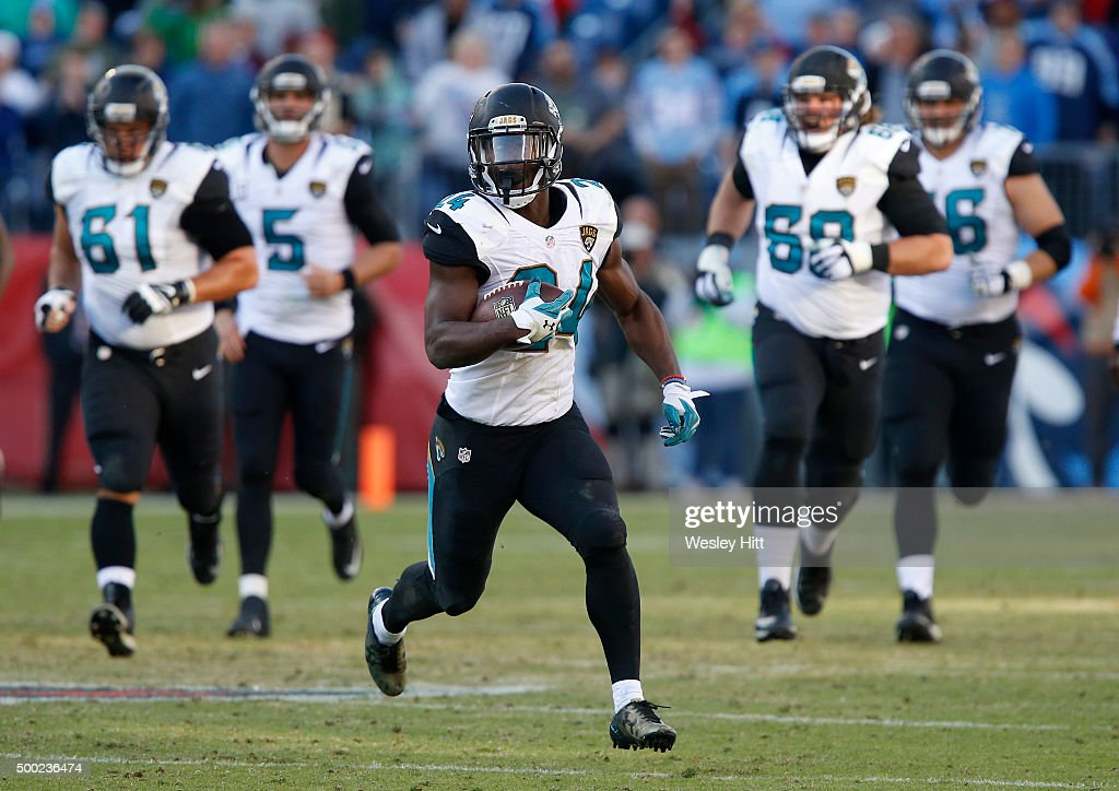 T.J. Yeldon #24 of the Jacksonville Jaguars runs with the ball against the Tennessee Titans during the game at Nissan Stadium on December 6, 2015 in Nashville, Tennessee.