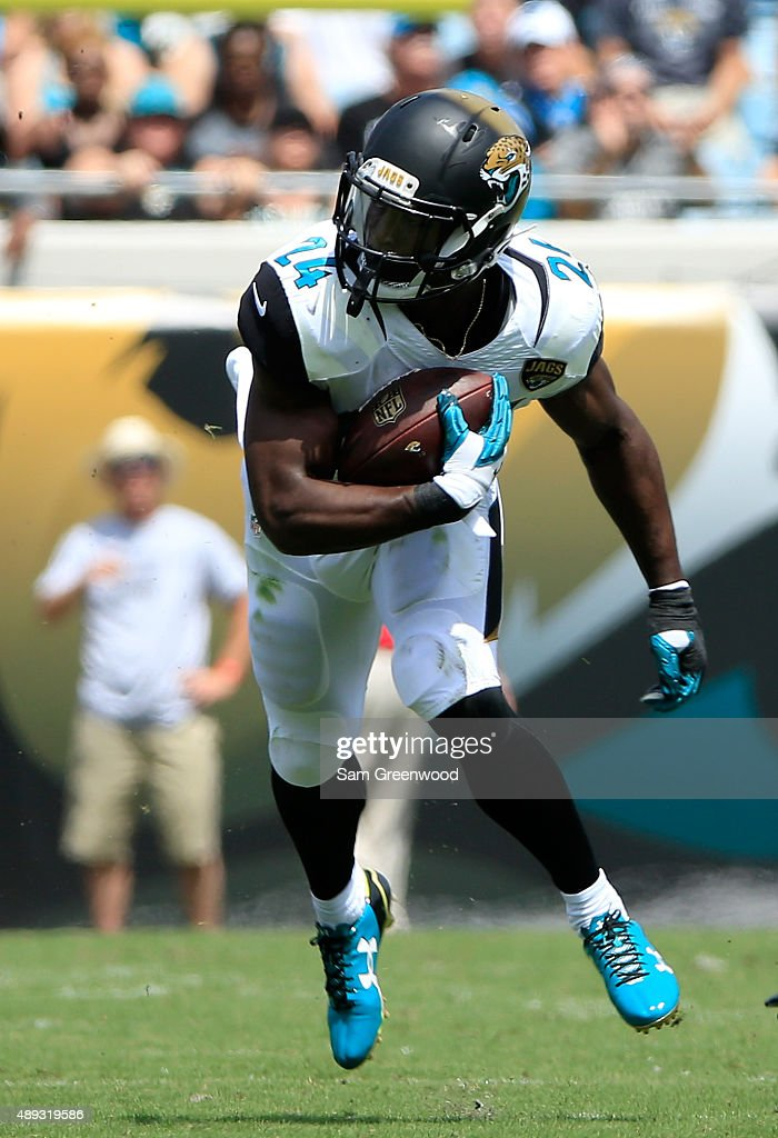 T.J. Yeldon #24 of the Jacksonville Jaguars rushes for yardage during the game against the Carolina Panthers at EverBank Field on September 13, 2015 in Jacksonville, Florida.