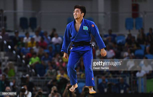 Yeldos Smetov of Kazakhstan celebrates after defeating Orkhan Safarov of Azerbaijan during the Men's 60 kog Semifinal of Table B Judo contest on Day...