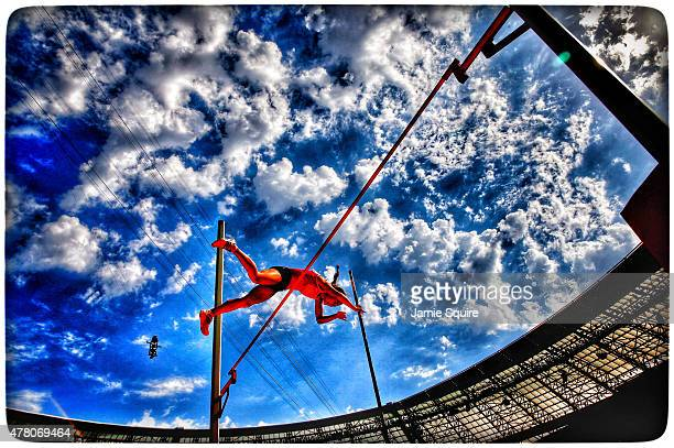 Yelena Gladkova of Azerbaijan competes in the Women's Pole Vault during day nine of the Baku 2015 European Games at the Olympic Stadium on June 21...