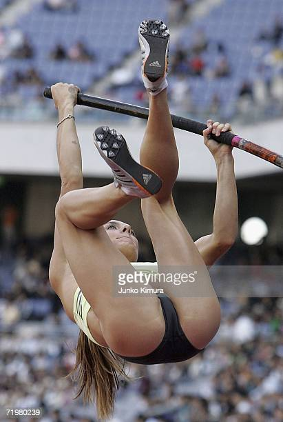 Yelena Ishinbayeva of Ukraine competes during the Women's Pole Vault at Seiko Super Track Field 2006 Yokohama on September 24 2006 in Yokohama Japan...