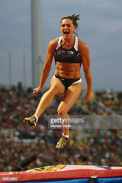 Yelena Isinbaeva of Russia celebrates victory in the women's pole vault during day one of the IAAF World Athletics Final at the Kaftanzoglio Stadium...