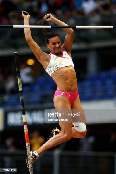 Yelena Isinbaeva of Russia competes in the Womens Pole Vault during the IAAF Golden League Track and Field meeting on July 17 2009 in Paris France