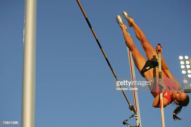 Yelena Isinbaeva of Russia on her way to victory in the women's pole vault during the IAAF Golden League Bislett Games on June 15 2006 in Oslo Norway