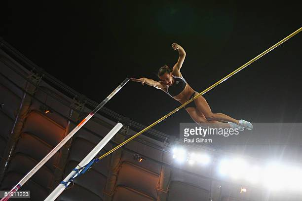 Yelena Isinbaeva of Russia sets a new world record of 5.03m while competing in the Womens Pole Vault during the IAAF Golden Gala at the Stadio...