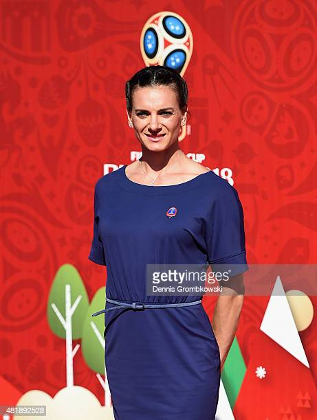 Yelena Isinbayeva attends the Preliminary Draw of the 2018 FIFA World Cup in Russia at The Konstantin Palace on July 25, 2015 in Saint Petersburg,...