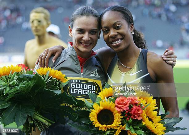 Yelena Isinbayeva of Russia and Sanya Richards of USA share the Golden jackpot during the ISTAF Golden League athletics meeting on September 16 2007...