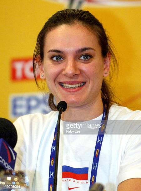 Yelena Isinbayeva of Russia at IAAF World Indoor Championships in Athletics press conference at the Renaissance Hotel in Moscow Russia on Thursday...
