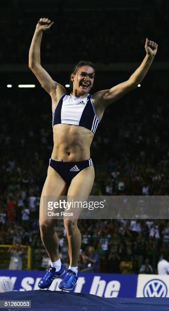 Yelena Isinbayeva of Russia breaks the womens Pole Vault record at the IAAF Golden League Meet in the Roi Baudouin Stadium on September 3, 2004 in...
