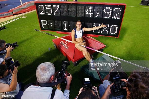 Yelena Isinbayeva of Russia breaks the women's Pole Vault record during the IAAF Golden League Meet on September 3, 2004 in the Roi Baudouin Stadium...