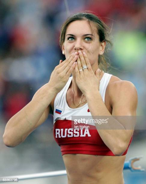 Yelena Isinbayeva of Russia celebrates after clearing the bar during the women's Pole Vault final at the 10th IAAF World Athletics Championships on...