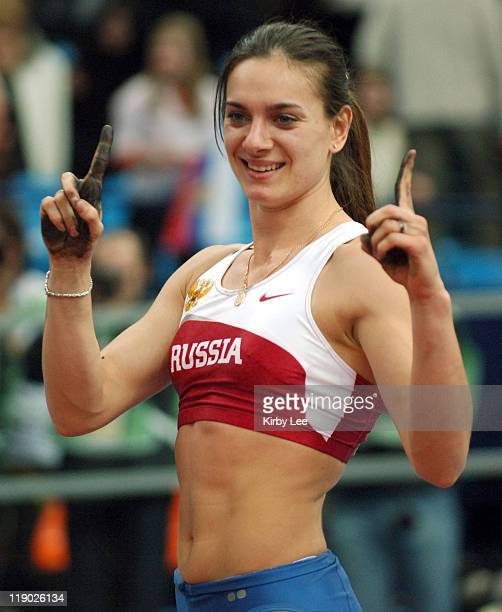 Yelena Isinbayeva of Russia celebrates after winning the women's pole vault at 159 in the IAAF World Indoor Championships in Athletics at the...