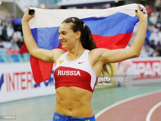 Yelena Isinbayeva of Russia celebrates winning gold the Women's Pole Vault Final on day six of the 19th European Athletics Championships at the...