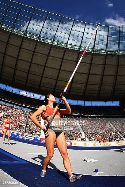 Yelena Isinbayeva of Russia competes during her victory in the women's pole vault and a share of the Golden Jackpot during the IAAF Golden League...