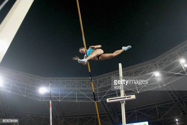 Yelena Isinbayeva of Russia competes in the Womens's Pole Vault during the Shanghai Golden Grand Prix 2008 at Shanghai Stadium on September 20 2008...