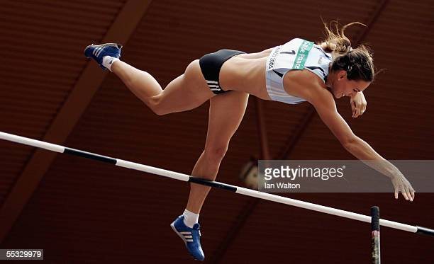 Yelena Isinbayeva of Russia in action in the women's pole vault during the IAAF World Athletics Final on September 10 2005 at the Stade Louis II in...