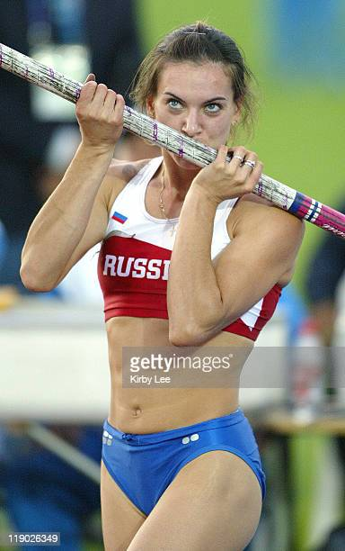 Yelena Isinbayeva of Russia kisses her pole after a worldrecord clearance of 165 1/4 in the women's pole vault in the IAAF World Championships in...