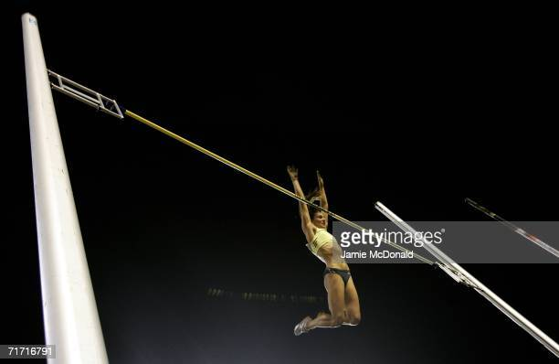 Yelena Isinbayeva of Russia vaults the bar during the pole vault during the IAAF Golden League Meet in the Roi Baudouin Stadium on August 25 2006 in...