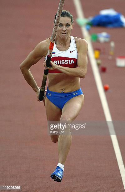 Yelena Isinbayeva of Russia won the women's pole vault with a worldrecord clearance of 165 1/4 in the IAAF World Championships in Athletics at...