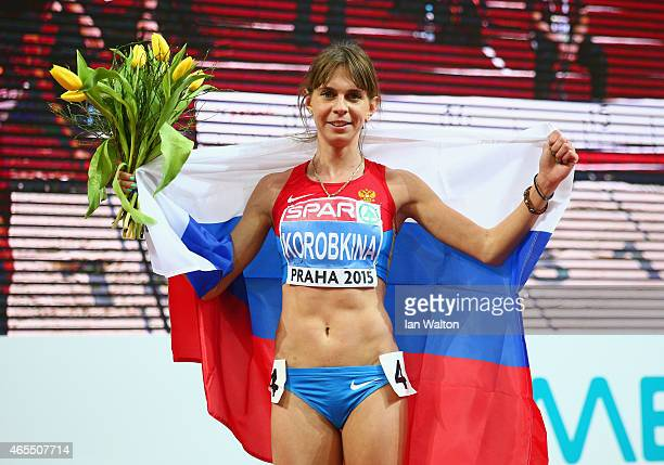 Yelena Korobkina of Russia celebrates winning gold in the Women's 3000 metres Final during day two of the 2015 European Athletics Indoor...
