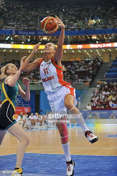 Yelena Leuchanka of Belarus shoots against Australia during day one of basketball at the 2008 Beijing Summer Olympics on August 9, 2008 at the...