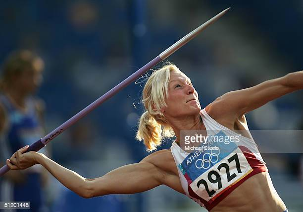 Yelena Prokhorova of Russia competes in the javelin discipline of the women's heptathlon on August 21, 2004 during the Athens 2004 Summer Olympic...