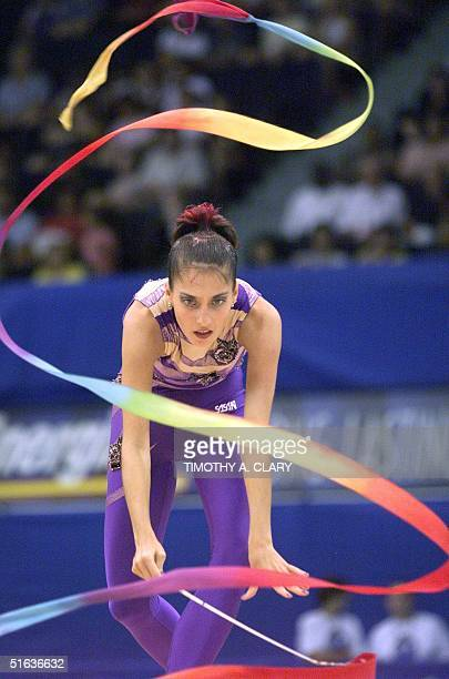 Yelena Vitrichenko of the Ukraine performs with the ribbon during the rhythmic gymnastic individual exercise final competition at the 1998 Goodwill...
