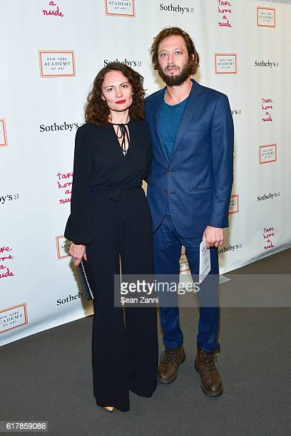 Yelena Yemchuk and Ebon MossBachrach attend 2016 Take Home a Nude Benefiting New York Academy of Art at Sotheby's on October 24 2016 in New York City