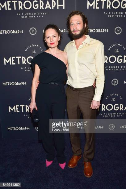 Yelena Yemchuk and Ebon MossBachrach attend Metrograph 1st Anniversary party at Metrograph on March 8 2017 in New York City