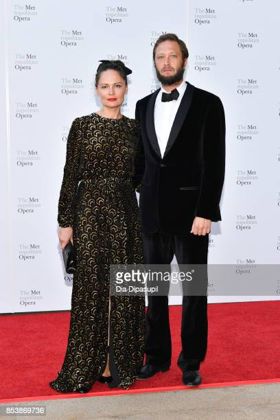 Yelena Yemchuk and Ebon MossBachrach attend the 2017 Metropolitan Opera Opening Night at The Metropolitan Opera House on September 25 2017 in New...