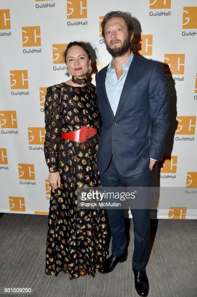 Yelena Yemchuk and Ebon MossBachrach attend the Guild Hall's 33rd Annual Academy of the Arts Awards at The Rainbow Room on March 5 2018 in New York...