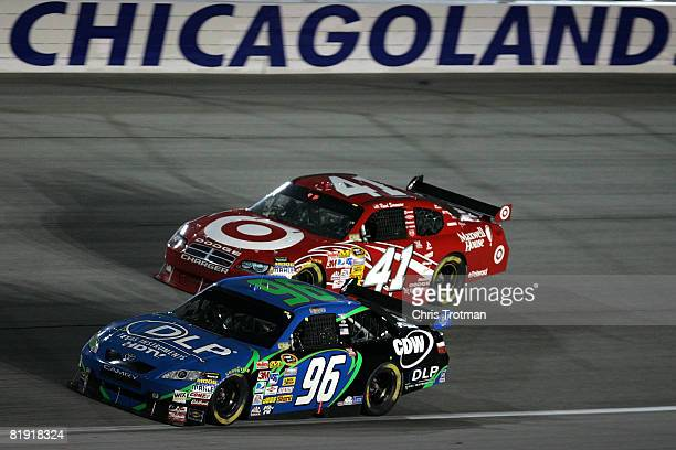 Yeley driver of the DLP HDTV Toyota races with Reed Sorenson driver of the Target/Maxwell House/Tum Dodge during the NASCAR Sprint Cup Series...