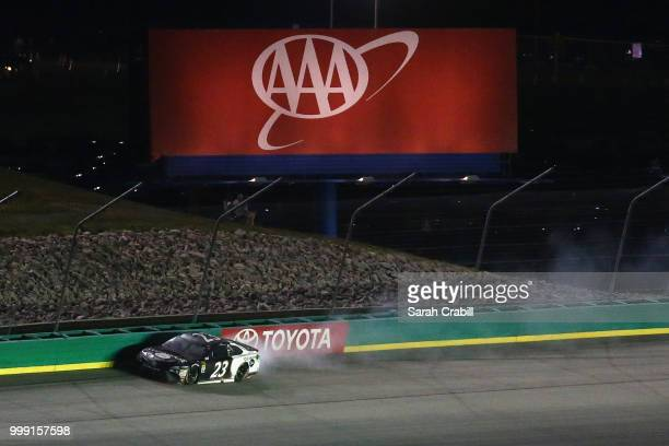 Yeley, driver of the Steakhouse Elite Toyota, is involved in an on-track incident during the Monster Energy NASCAR Cup Series Quaker State 400...