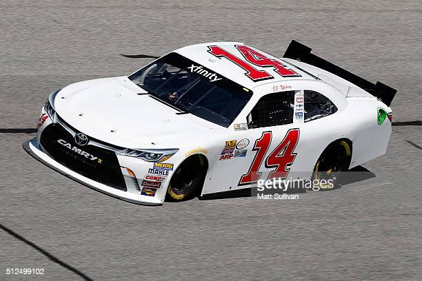 Yeley driver of the Toyota practices for the NASCAR XFINITY Series Heads Up Georgia 250 at Atlanta Motor Speedway on February 26 2016 in Hampton...